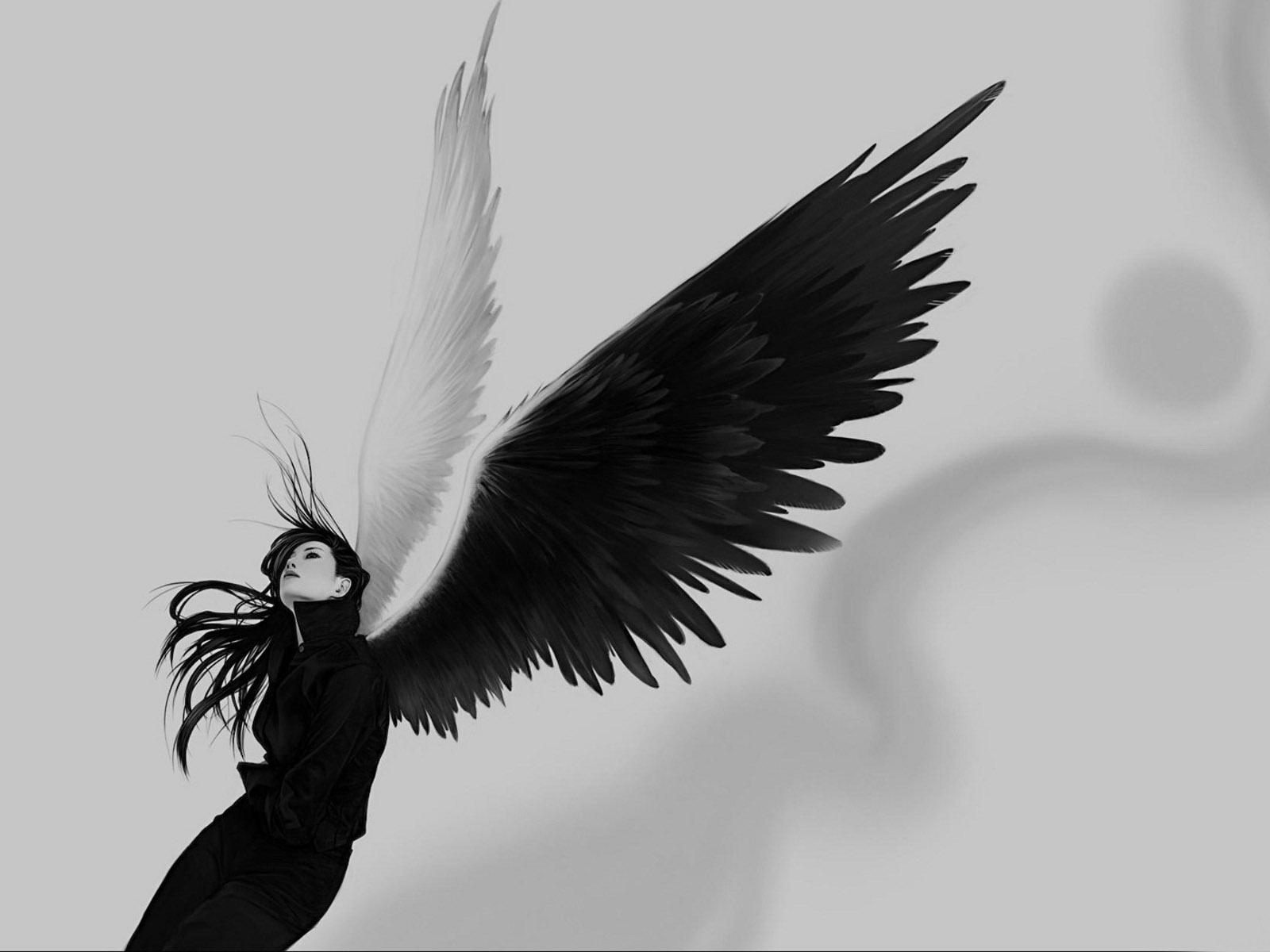 Обои Готичн? ? девушк?-? нгел с белым и черным крылом.